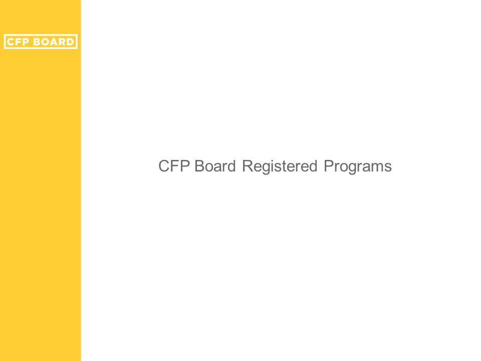 CFP Board Registered Programs