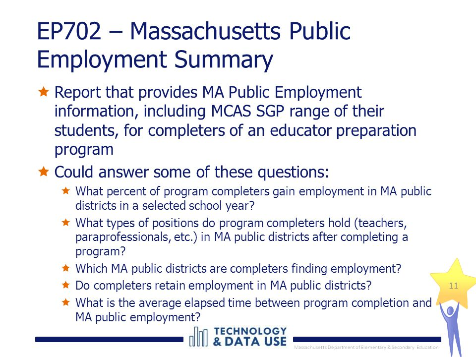Massachusetts Department of Elementary & Secondary Education 11 EP702 – Massachusetts Public Employment Summary  Report that provides MA Public Employment information, including MCAS SGP range of their students, for completers of an educator preparation program  Could answer some of these questions:  What percent of program completers gain employment in MA public districts in a selected school year.