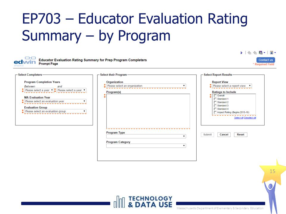 Massachusetts Department of Elementary & Secondary Education 15 EP703 – Educator Evaluation Rating Summary – by Program