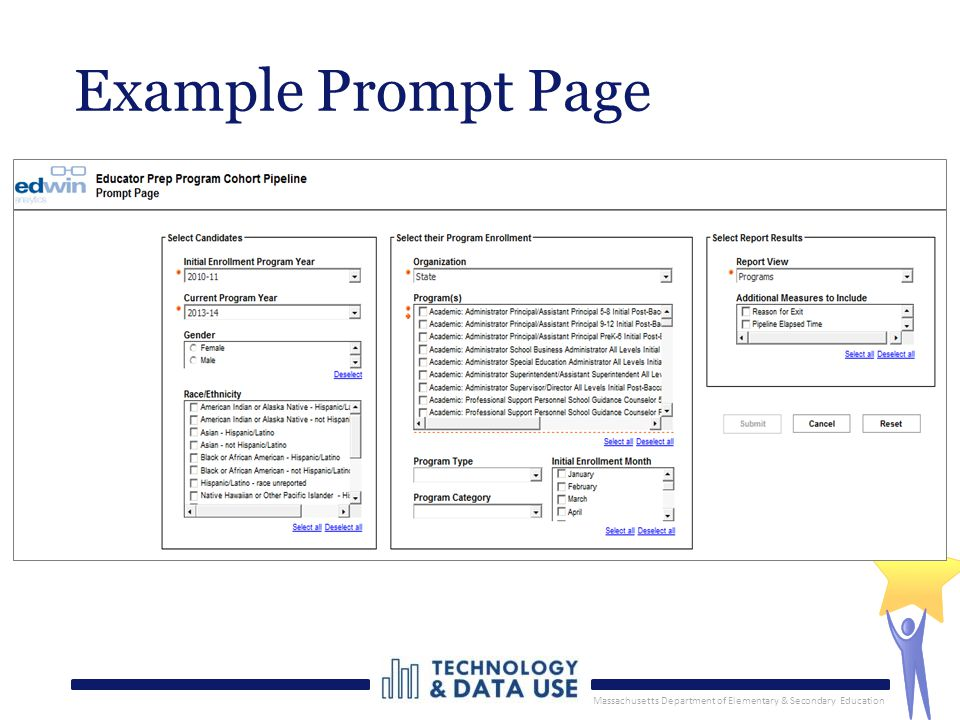 Massachusetts Department of Elementary & Secondary Education Example Prompt Page