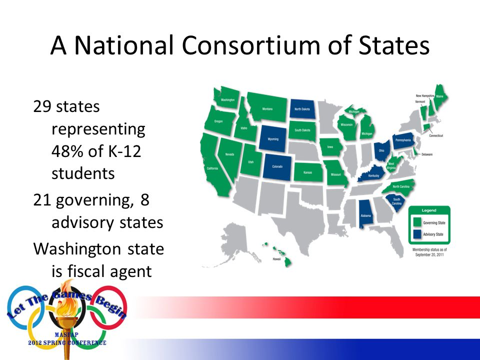 A National Consortium of States 29 states representing 48% of K-12 students 21 governing, 8 advisory states Washington state is fiscal agent
