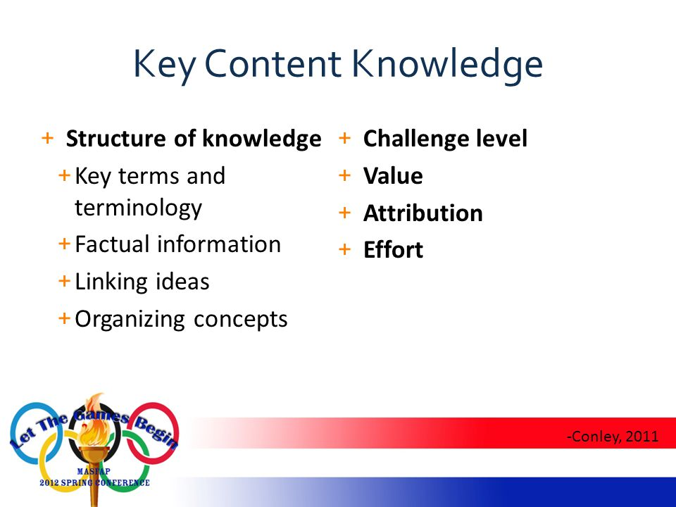 Key Content Knowledge + Structure of knowledge + Key terms and terminology + Factual information + Linking ideas + Organizing concepts + Challenge level + Value + Attribution + Effort -Conley, 2011