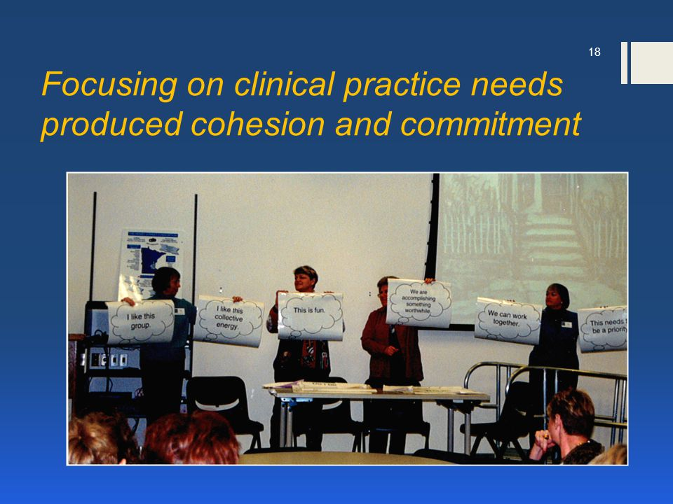 Focusing on clinical practice needs produced cohesion and commitment 18