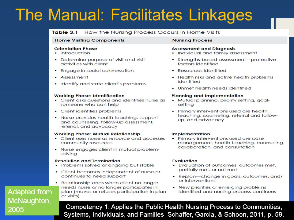 The Manual: Facilitates Linkages Competency 1: Applies the Public Health Nursing Process to Communities, Systems, Individuals, and Families Schaffer, Garcia, & Schoon, 2011, p.