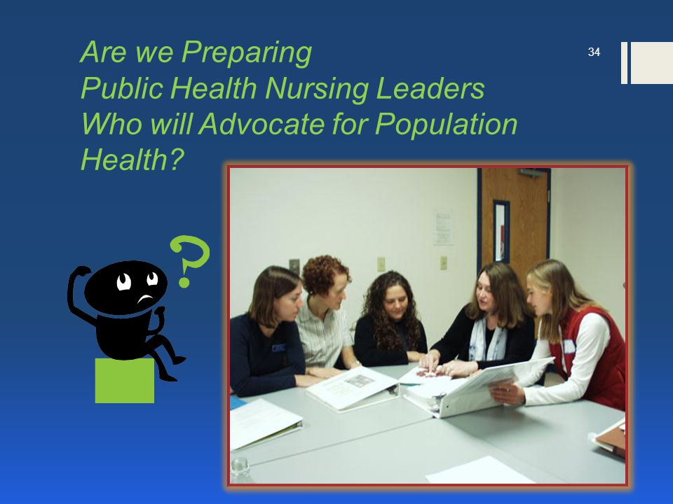 Are we Preparing Public Health Nursing Leaders Who will Advocate for Population Health 34