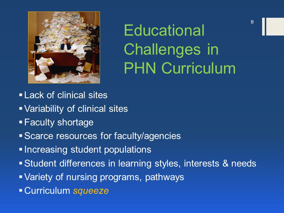 Educational Challenges in PHN Curriculum  Lack of clinical sites  Variability of clinical sites  Faculty shortage  Scarce resources for faculty/agencies  Increasing student populations  Student differences in learning styles, interests & needs  Variety of nursing programs, pathways  Curriculum squeeze 9