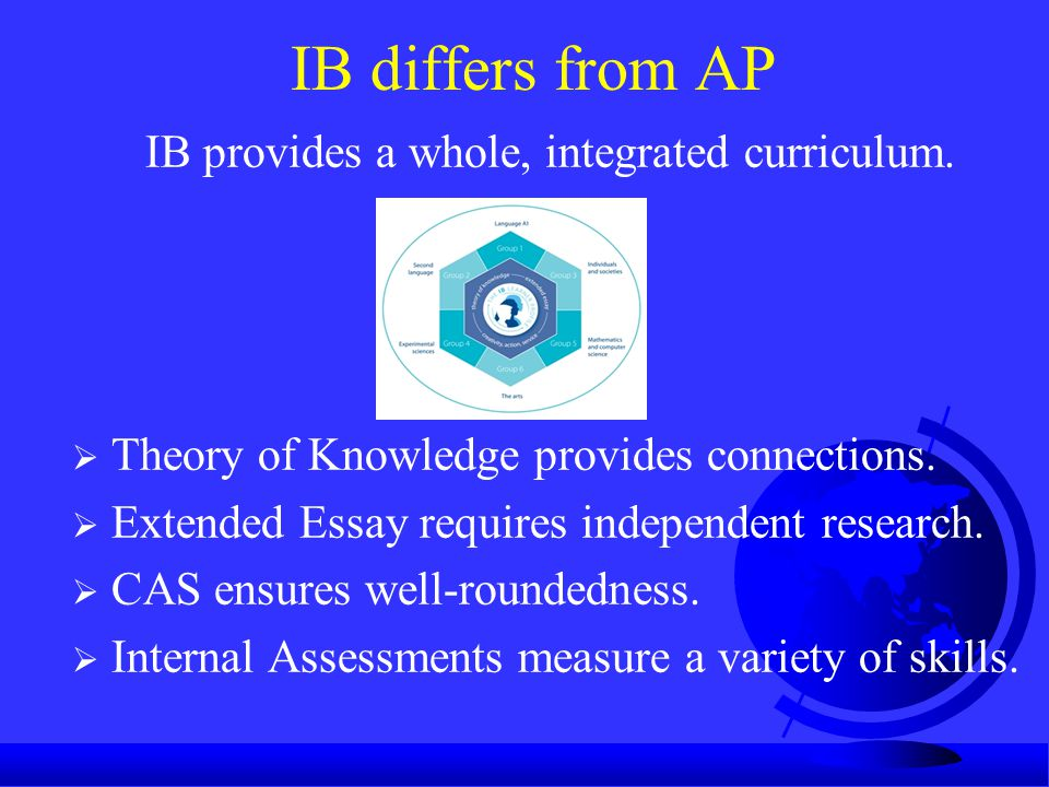 IB differs from AP  Theory of Knowledge provides connections.