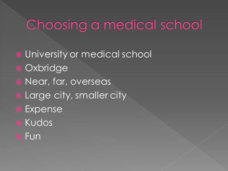  University or medical school  Oxbridge  Near, far, overseas  Large city, smaller city  Expense  Kudos  Fun