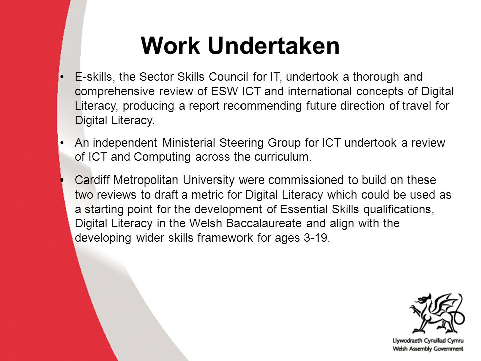 Work Undertaken E-skills, the Sector Skills Council for IT, undertook a thorough and comprehensive review of ESW ICT and international concepts of Dig