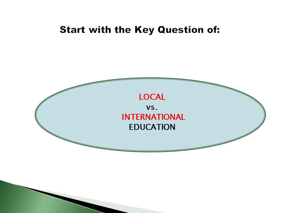 LOCAL vs. INTERNATIONAL EDUCATION