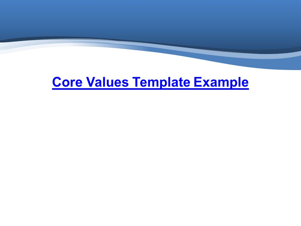 Core Values Template Example
