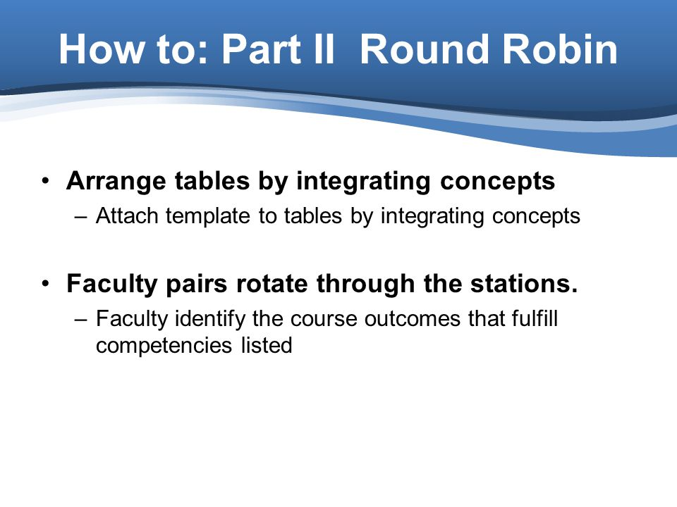 Arrange tables by integrating concepts –Attach template to tables by integrating concepts Faculty pairs rotate through the stations.