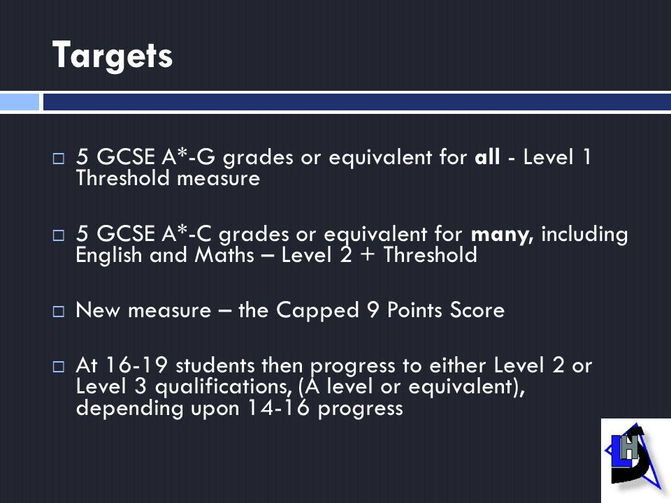Targets  5 GCSE A*-G grades or equivalent for all - Level 1 Threshold measure  5 GCSE A*-C grades or equivalent for many, including English and Maths – Level 2 + Threshold  New measure – the Capped 9 Points Score  At 16-19 students then progress to either Level 2 or Level 3 qualifications, (A level or equivalent), depending upon 14-16 progress