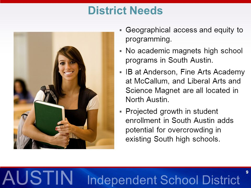 AUSTIN Independent School District 9 District Needs  Geographical access and equity to programming.