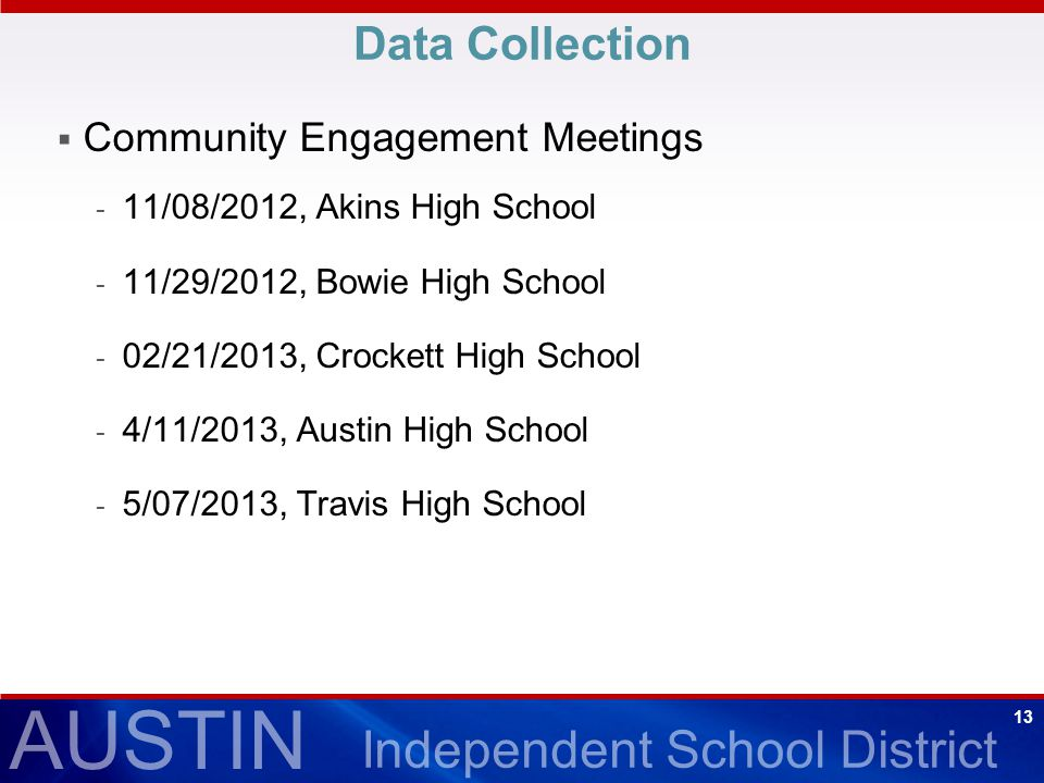 AUSTIN Independent School District 13 Data Collection  Community Engagement Meetings - 11/08/2012, Akins High School - 11/29/2012, Bowie High School - 02/21/2013, Crockett High School - 4/11/2013, Austin High School - 5/07/2013, Travis High School