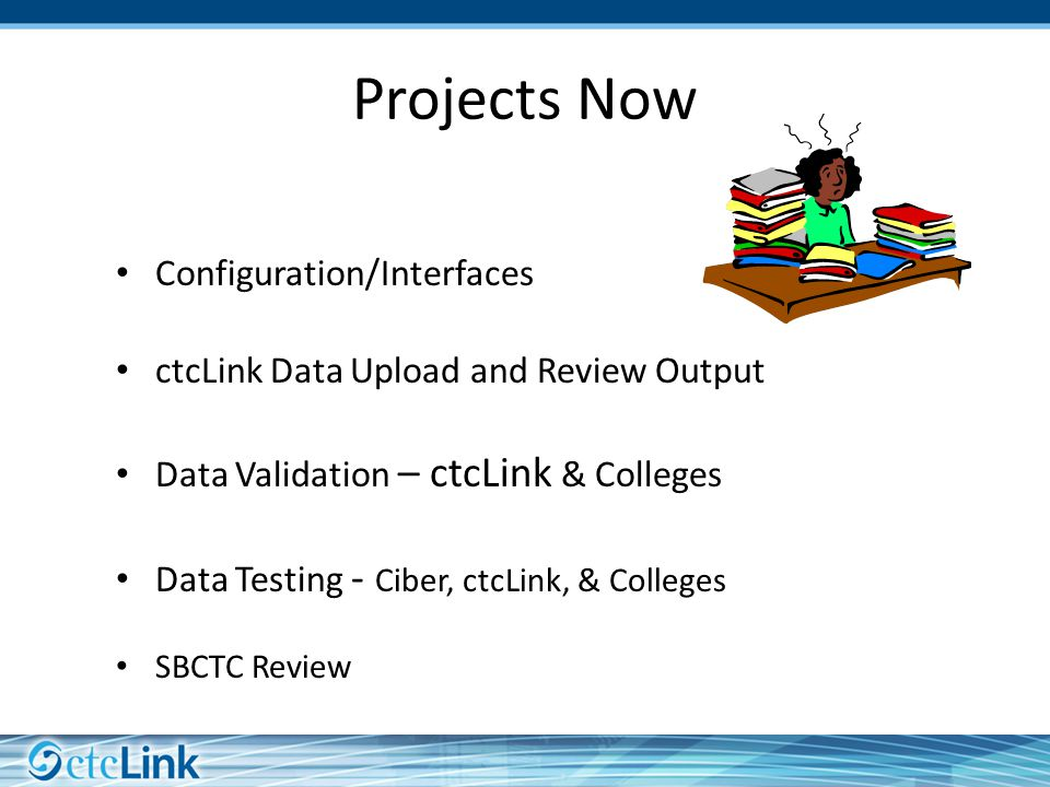Configuration/Interfaces ctcLink Data Upload and Review Output Data Validation – ctcLink & Colleges Data Testing - Ciber, ctcLink, & Colleges SBCTC Review Projects Now