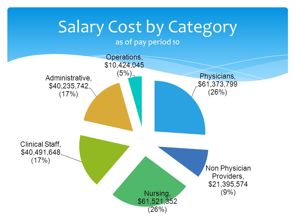 Salary Cost by Category as of pay period 10