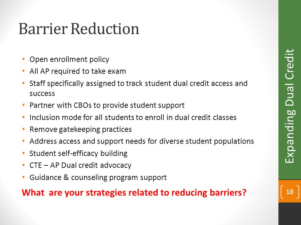 Barrier Reduction Open enrollment policy All AP required to take exam Staff specifically assigned to track student dual credit access and success Partner with CBOs to provide student support Inclusion mode for all students to enroll in dual credit classes Remove gatekeeping practices Address access and support needs for diverse student populations Student self-efficacy building CTE – AP Dual credit advocacy Guidance & counseling program support 18 Expanding Dual Credit What are your strategies related to reducing barriers?