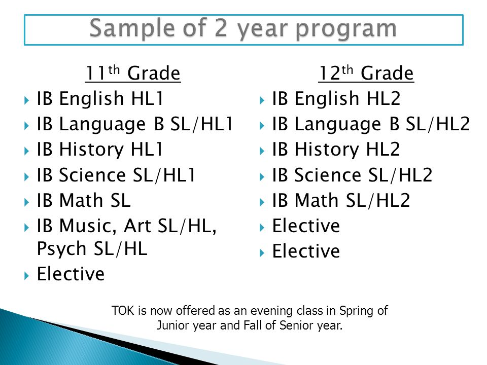 11 th Grade  IB English HL1  IB Language B SL/HL1  IB History HL1  IB Science SL/HL1  IB Math SL  IB Music, Art SL/HL, Psych SL/HL  Elective 12
