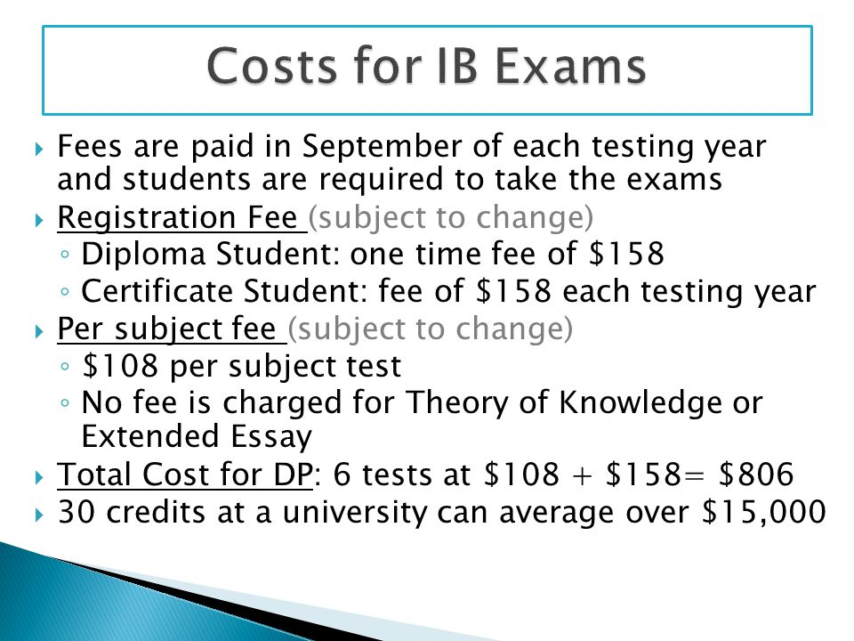  Fees are paid in September of each testing year and students are required to take the exams  Registration Fee (subject to change) ◦ Diploma Student