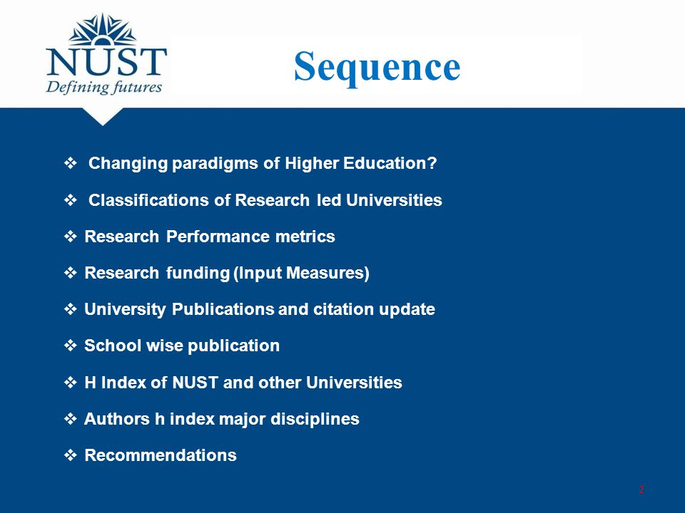 Sequence  Changing paradigms of Higher Education.