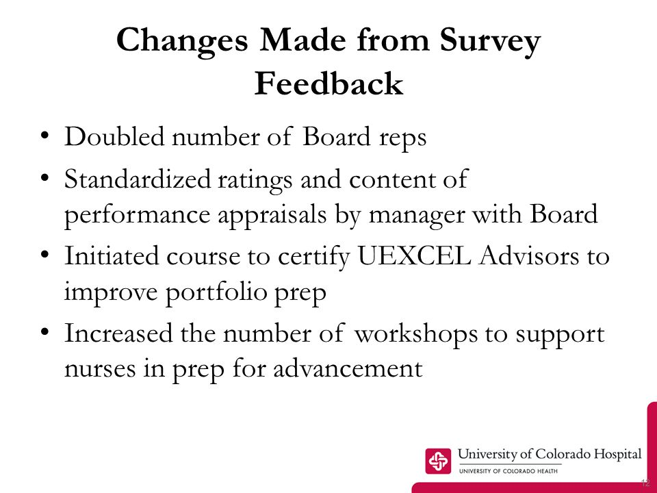 12 Changes Made from Survey Feedback Doubled number of Board reps Standardized ratings and content of performance appraisals by manager with Board Initiated course to certify UEXCEL Advisors to improve portfolio prep Increased the number of workshops to support nurses in prep for advancement
