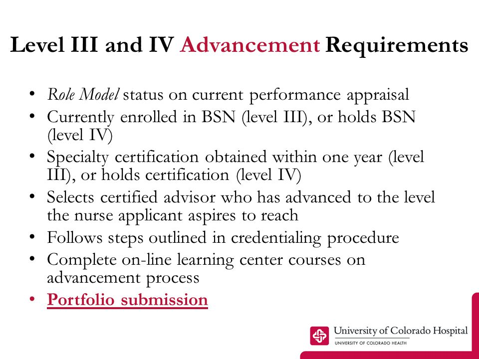 Level III and IV Advancement Requirements Role Model status on current performance appraisal Currently enrolled in BSN (level III), or holds BSN (leve