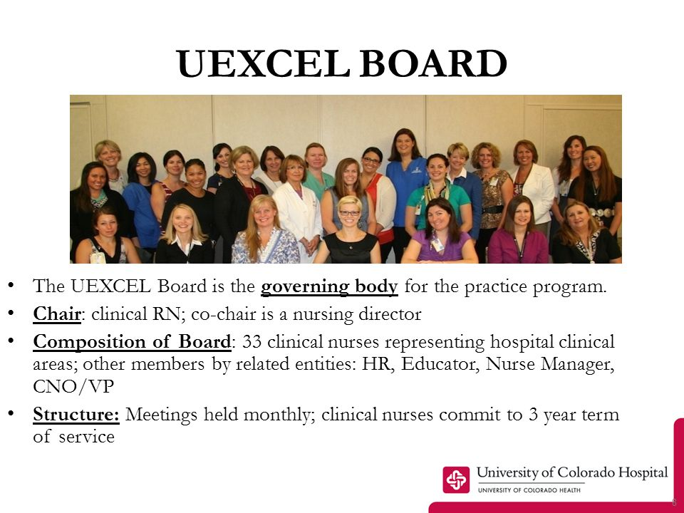 UEXCEL Board Roles Reviews, approves credentials of clinical registered nurses for the four levels of nursing practice.