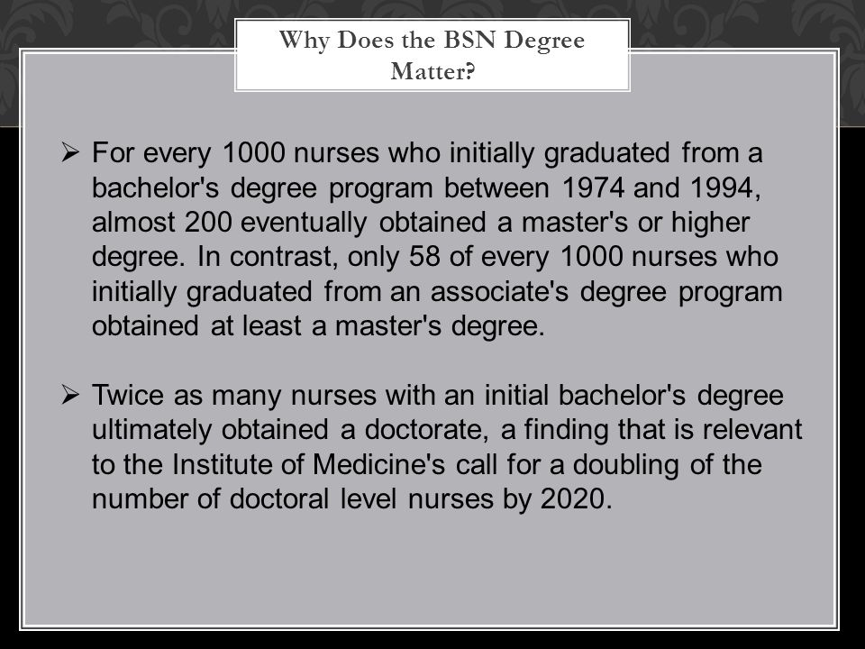 Why Does the BSN Degree Matter?  For every 1000 nurses who initially graduated from a bachelor's degree program between 1974 and 1994, almost 200 eve