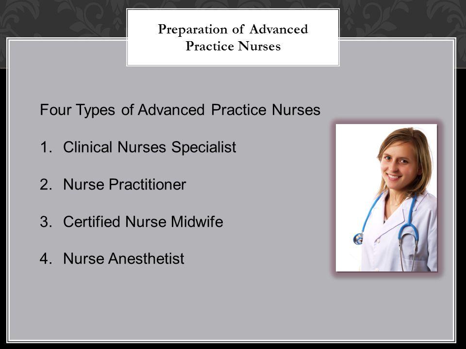 Preparation of Advanced Practice Nurses Four Types of Advanced Practice Nurses 1.Clinical Nurses Specialist 2.Nurse Practitioner 3.Certified Nurse Midwife 4.Nurse Anesthetist