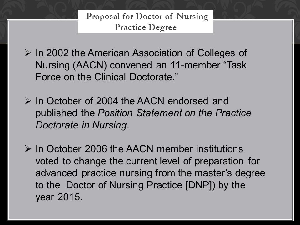 "Proposal for Doctor of Nursing Practice Degree  In 2002 the American Association of Colleges of Nursing (AACN) convened an 11-member ""Task Force on t"