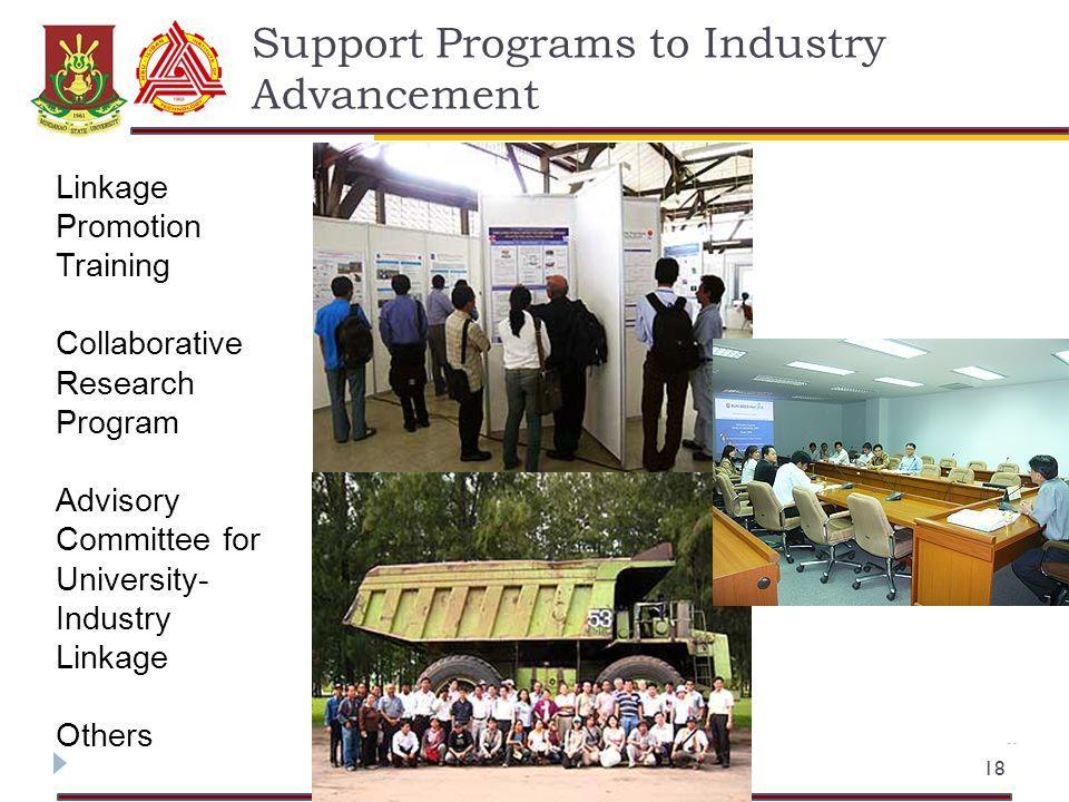 Support Programs to Industry Advancement 18 Linkage Promotion Training Collaborative Research Program Advisory Committee for University- Industry Linkage Others