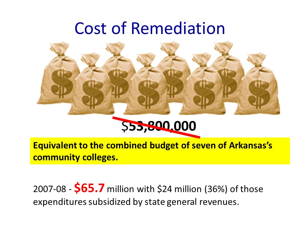 Cost of Remediation $53,800,000 Equivalent to the combined budget of seven of Arkansas's community colleges.