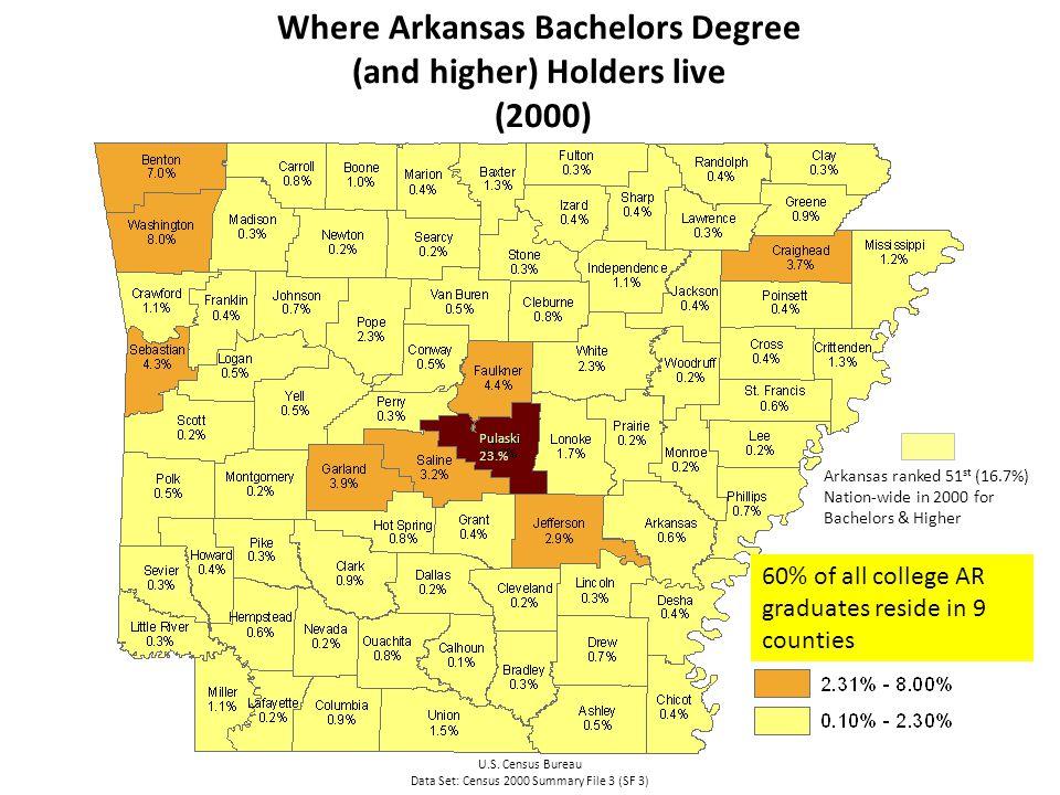 Where Arkansas Bachelors Degree (and higher) Holders live (2000) U.S.