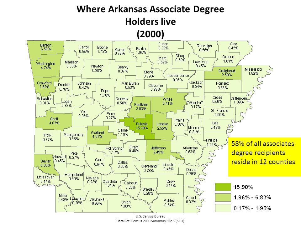 Where Arkansas Associate Degree Holders live (2000) U.S.
