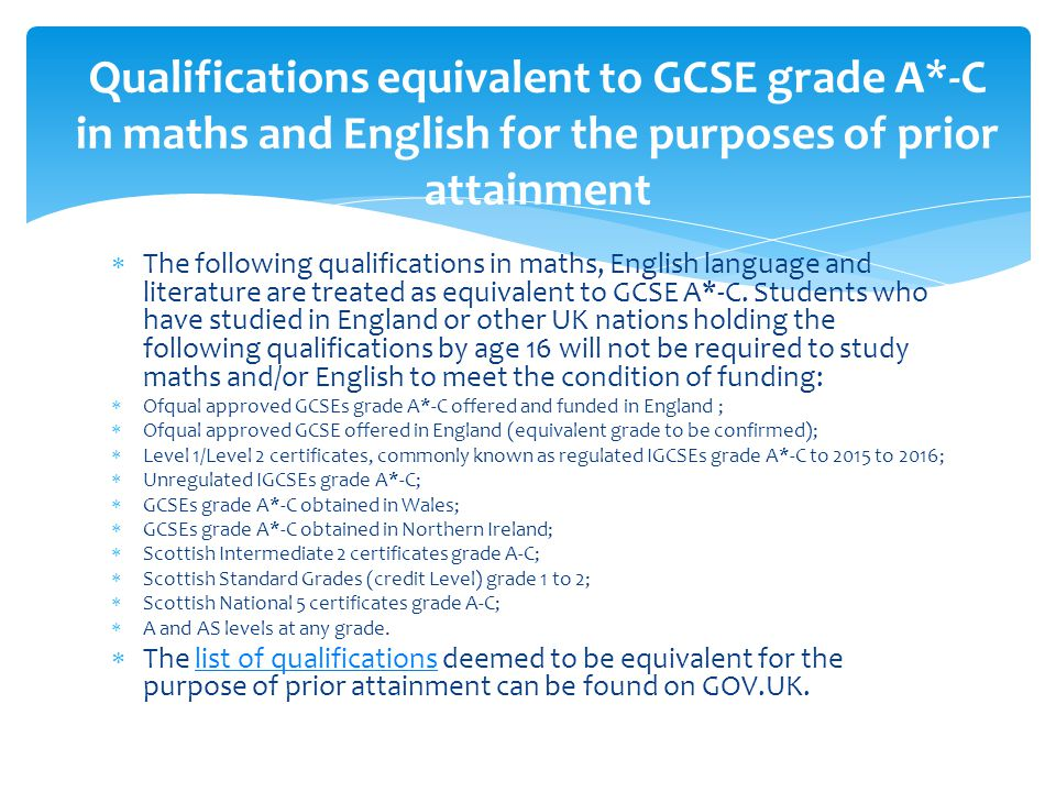  The following qualifications in maths, English language and literature are treated as equivalent to GCSE A*-C.