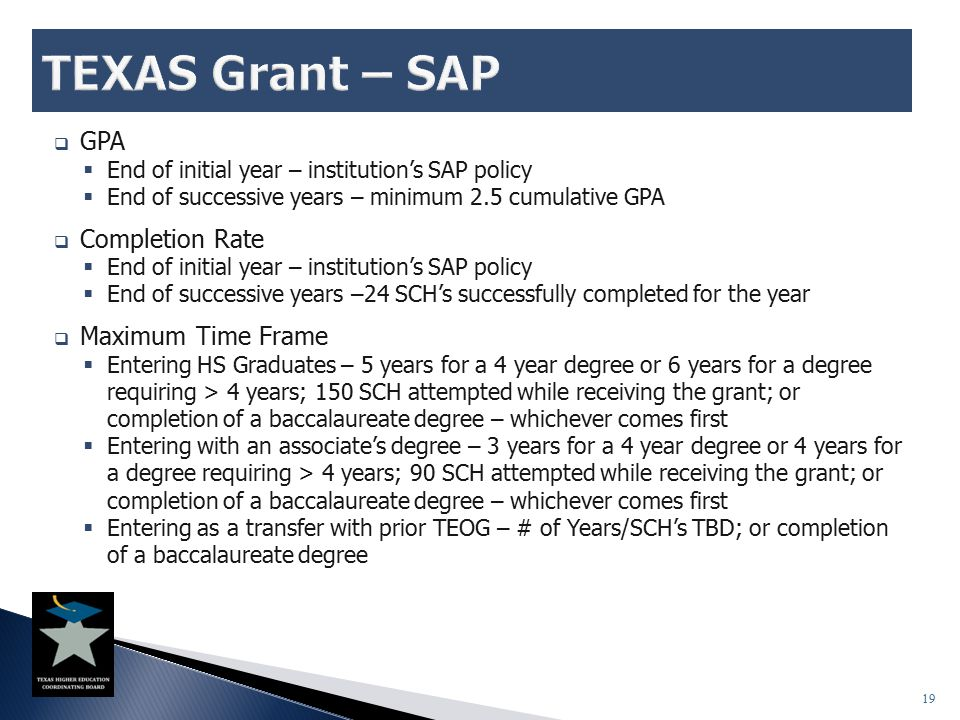  GPA  End of initial year – institution's SAP policy  End of successive years – minimum 2.5 cumulative GPA  Completion Rate  End of initial year
