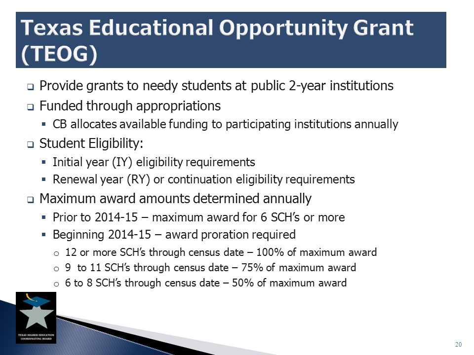  Provide grants to needy students at public 2-year institutions  Funded through appropriations  CB allocates available funding to participating ins