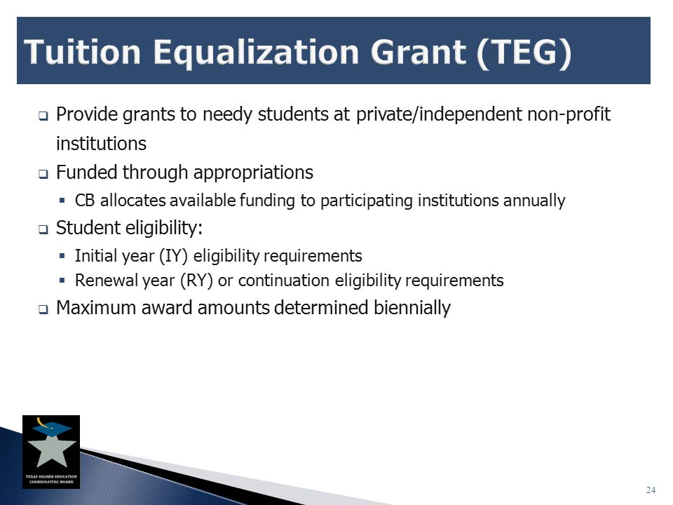  Provide grants to needy students at private/independent non-profit institutions  Funded through appropriations  CB allocates available funding to participating institutions annually  Student eligibility:  Initial year (IY) eligibility requirements  Renewal year (RY) or continuation eligibility requirements  Maximum award amounts determined biennially 24