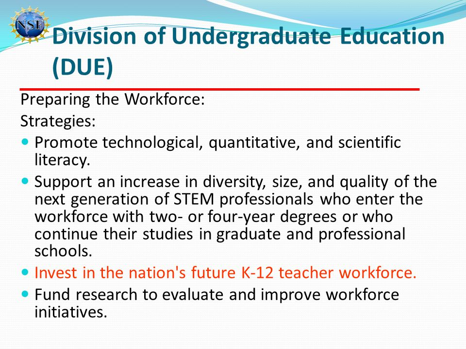 Preparing the Workforce: Strategies: Promote technological, quantitative, and scientific literacy. Support an increase in diversity, size, and quality