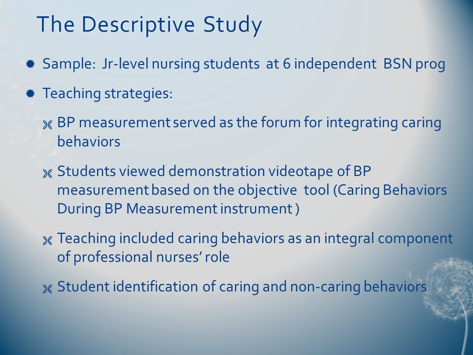 The Descriptive StudyThe Descriptive Study  Sample: Jr-level nursing students at 6 independent BSN prog  Teaching strategies:  BP measurement served as the forum for integrating caring behaviors  Students viewed demonstration videotape of BP measurement based on the objective tool (Caring Behaviors During BP Measurement instrument )  Teaching included caring behaviors as an integral component of professional nurses' role  Student identification of caring and non-caring behaviors