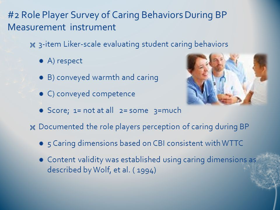 #2 Role Player Survey of Caring Behaviors During BP Measurement instrument  3-item Liker-scale evaluating student caring behaviors  A) respect  B) conveyed warmth and caring  C) conveyed competence  Score; 1= not at all 2= some 3=much  Documented the role players perception of caring during BP  5 Caring dimensions based on CBI consistent with WTTC  Content validity was established using caring dimensions as described by Wolf, et al.