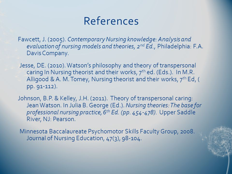 References Fawcett, J. (2005).