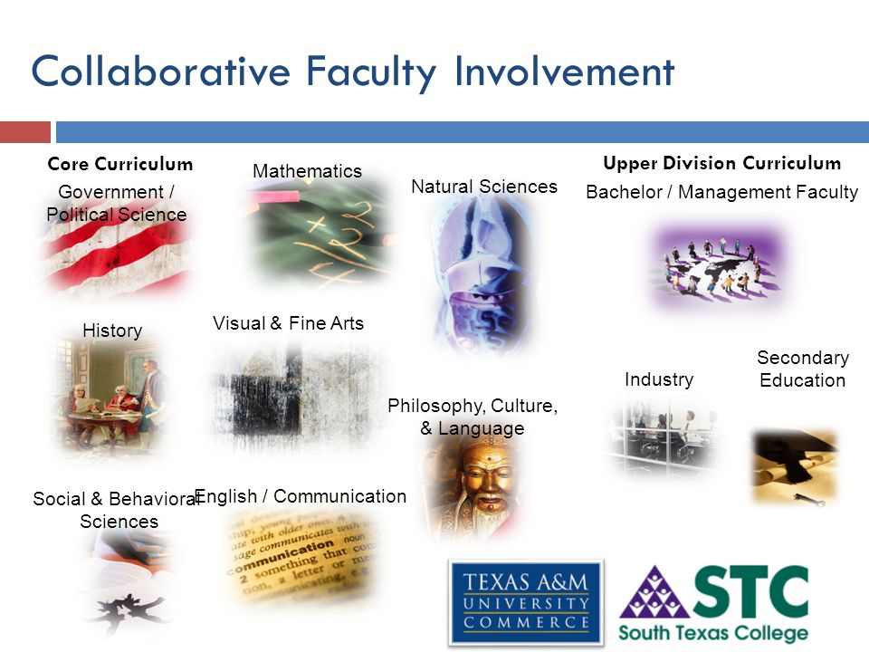 Collaborative Faculty Involvement Natural Sciences History Mathematics Visual & Fine Arts English / Communication Social & Behavioral Sciences Government / Political Science Philosophy, Culture, & Language Core Curriculum Upper Division Curriculum Bachelor / Management Faculty Industry Secondary Education