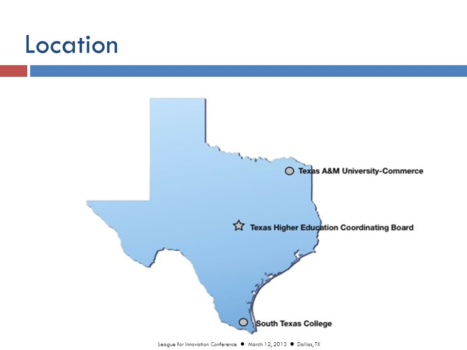 Program Admission / Assessments  College Readiness Assessment  State Assessment (Fall 2013)  CAAP Exam  Pre & Post Student Outcomes and Growth  Coursework Assessments  Embedded Course Assessments  End-of-Module Analytics  Capstone Portfolio League for Innovation Conference March 12, 2013 Dallas, TX