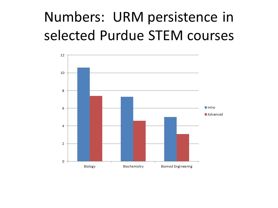 Numbers: URM persistence in selected Purdue STEM courses