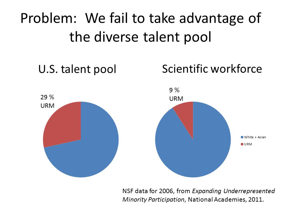 Problem: We fail to take advantage of the diverse talent pool NSF data for 2006, from Expanding Underrepresented Minority Participation, National Academies, 2011.