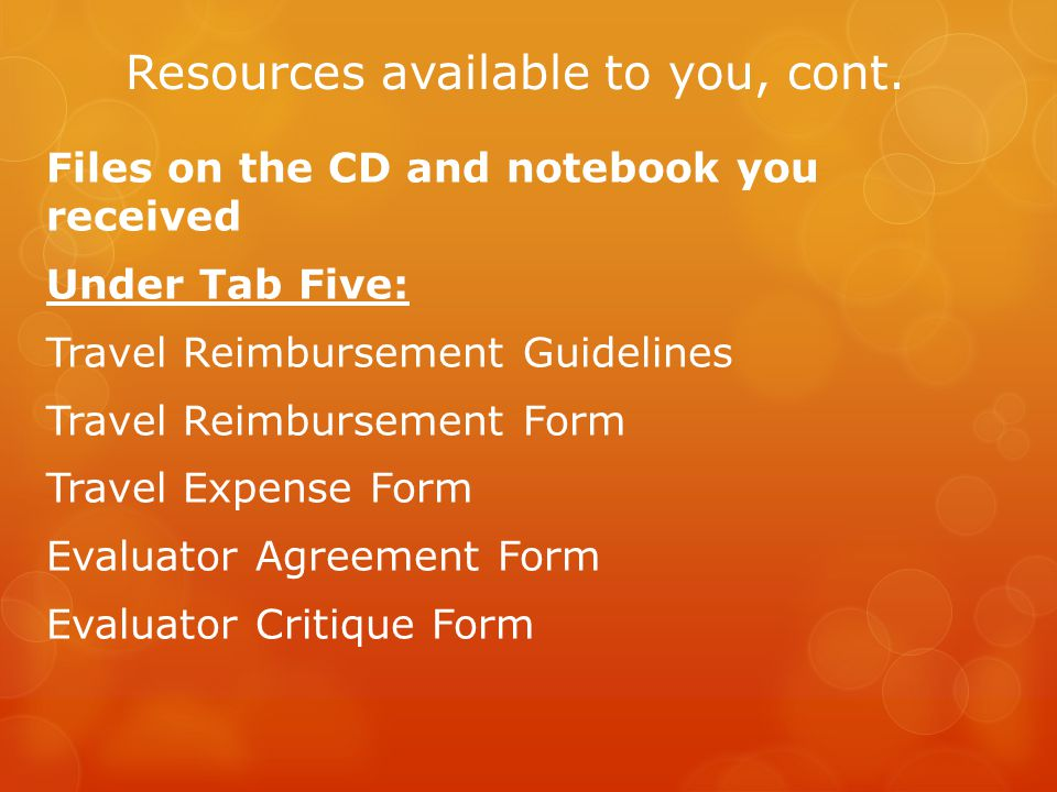 Resources available to you, cont.
