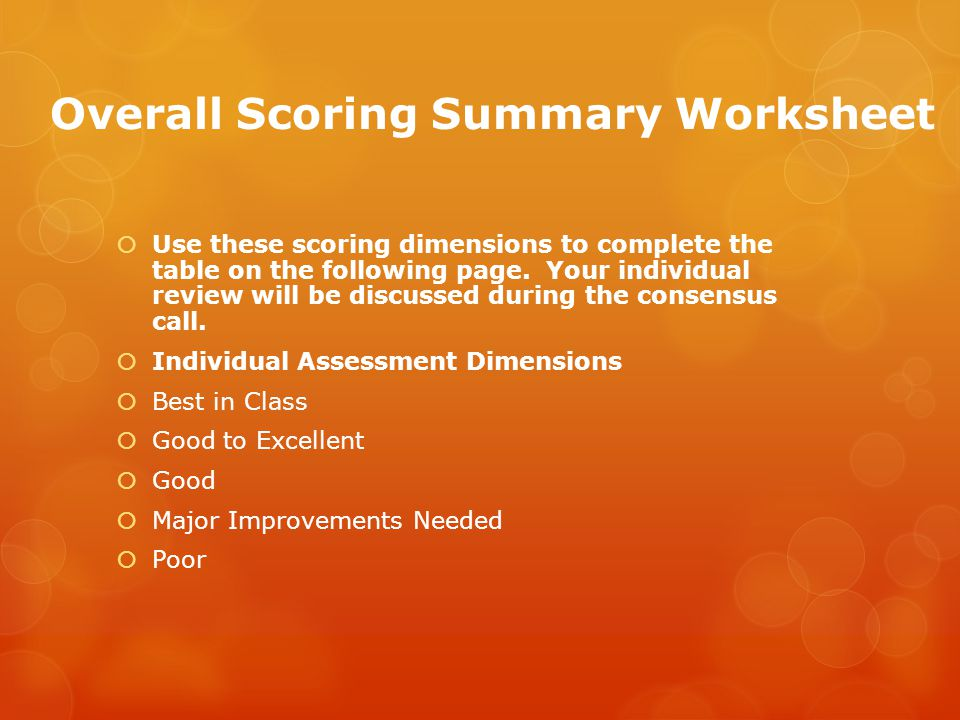 Overall Scoring Summary Worksheet  Use these scoring dimensions to complete the table on the following page.