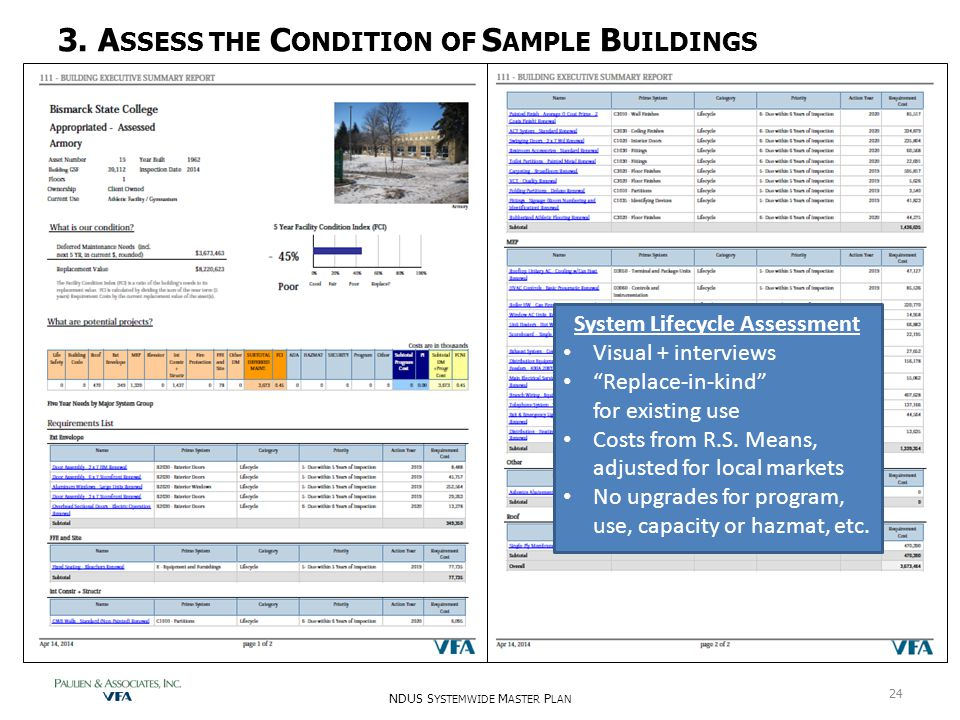 "3. A SSESS THE C ONDITION OF S AMPLE B UILDINGS System Lifecycle Assessment Visual + interviews ""Replace-in-kind"" for existing use Costs from R.S. Mea"